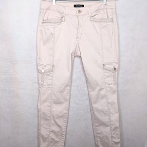 Light Pink Slim Ankle Embellished Stretch Pants